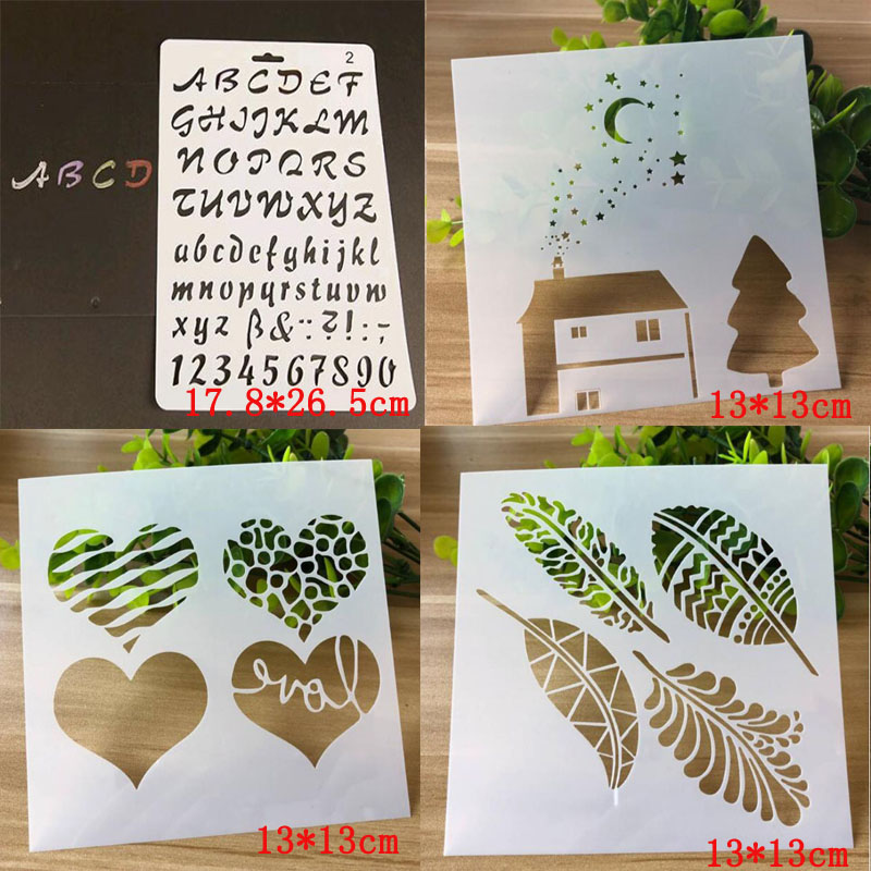 4pcs/set Bullet Journal Stencils DIY Moon House Letters Numbers For Wall Painting Scrapbooking Stamping Stamp Album Decorative