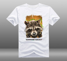 Mens Casual 2017 Movie Guardians of the Galaxy Vol. 2 Rocket Racoon White Cotton Short Sleeve T-shirts Tee Shirt Tops Clothing