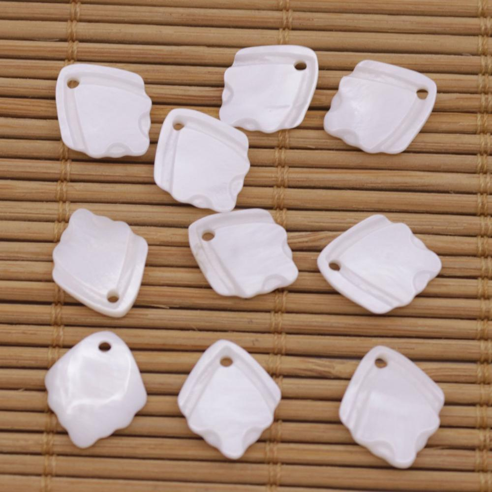 Купить с кэшбэком 10 PCS Shell Natural White Mother of Pearl Jewelry Making 12X14mm Leaf Shape
