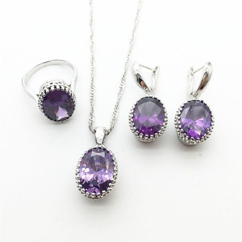 Purple Rhinestone 925 Sterling Silver Jewelry Sets For Women Necklace Pendant Earrings font b Rings b