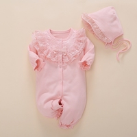 Spring Autumn Newborn Infant Baby Girl Romper Lace Floral Toddler Rompers Suits Hood Jumpsuit Long One