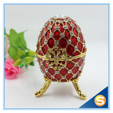 Fashion Easter Metal Crafts Gifts Faberge Egg Trinket Box Egg Shaped Jewelry Box for Women