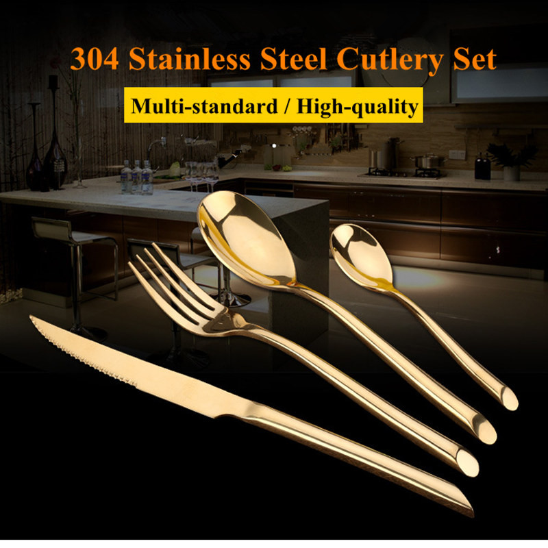 KuBac Hommi 24Pcs Golden Dinnerware 304 Cutlery Set Gold Stainless Steel Dinner Steak Knife Fork Teaspoon