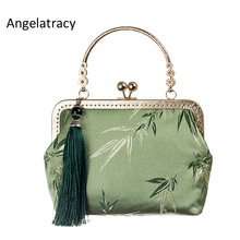 Angelatracy New Green Brocade Handbag Silk Bags for Women Cheongsam Clutch Bag Bamboo Chinese Tassel Bag bolsos mujer Handmade цены