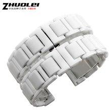 16 мм 18 мм 20 мм белый часы аксессуары замена керамические часы ремень браслеты развертывания часы пряжка