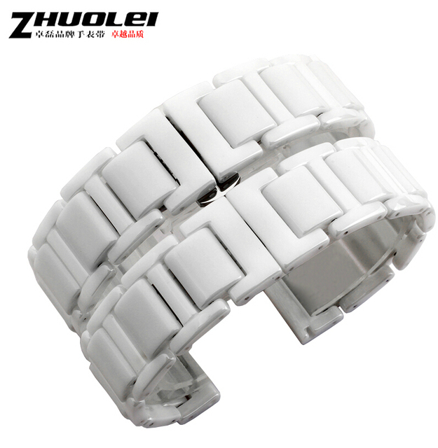 16mm 18mm 20mm White Watch Accessories Replacement Ceramic Band Strap Bracelets Deployment Buckle