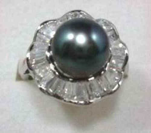 จัดส่งฟรี> >>>เสน่ห์! 12มิลลิเมตรสีดำมุกแหวน7 8 9