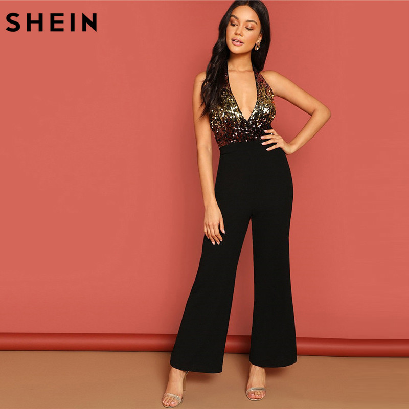SHEIN Halter Neck Sequin Bodice Plunging Jumpsuit Deep V Sexy Backless Plain Sleeveless Women Summer Maxi Skinny Jumpsuit