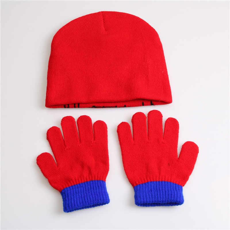 551fdbd6372 ... Xuyijun Gloves + hat Children s Winter Cartoon Glove Hat Sets Fashion  Kids Baby Warm Knitted Caps ...