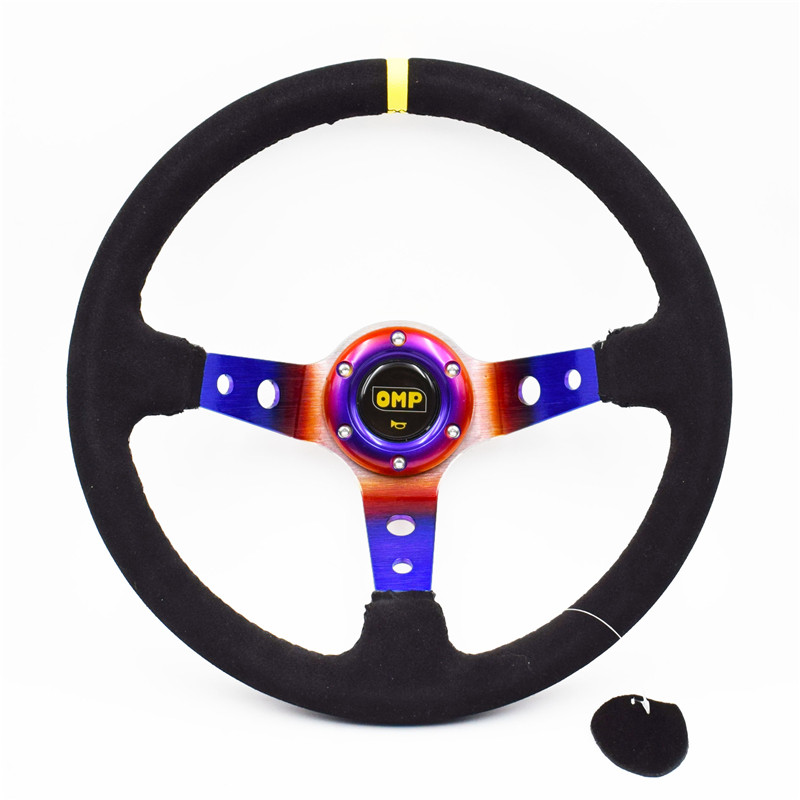 14inch OMP Multicolour Suede Leather Steering Wheel Racing Car Rally Tuning Drift Steering Wheel