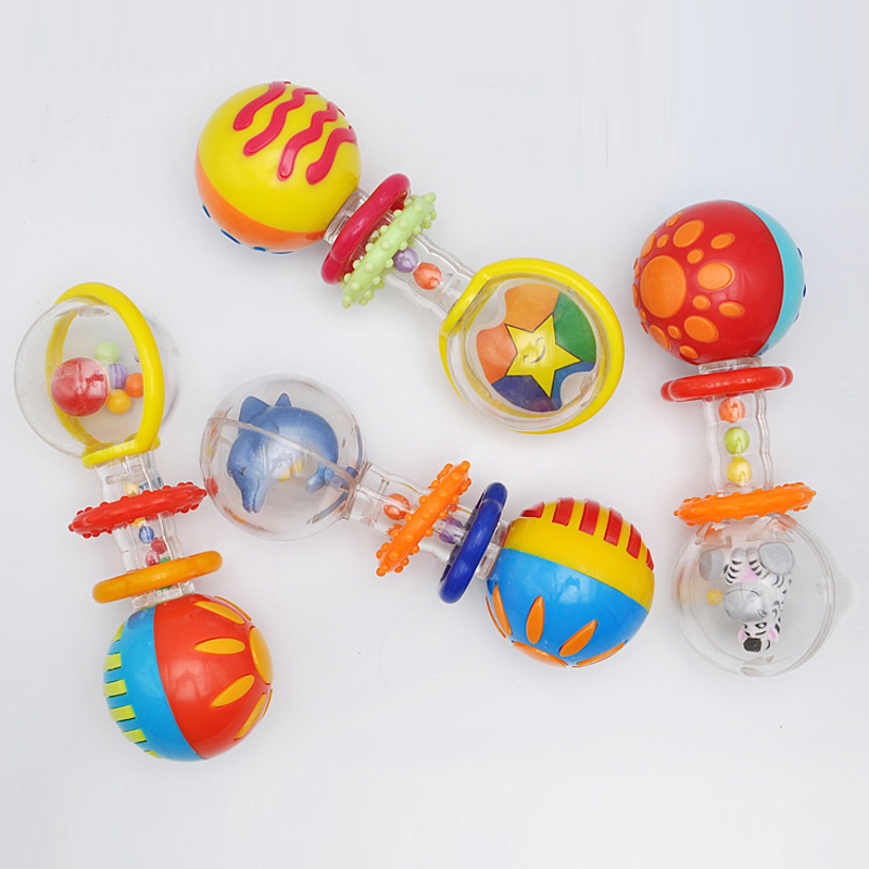 Baby hand grasping double ball rattle toy teether rocker training sensory to improve hand-eye coordination