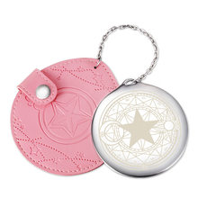 Cardcaptor Card Captor SAKURA Pink Round Cosmetic Mirror with Leather Holder Bags Charms Pendant Metal Makeup Pocket Mirrors NEW(China)