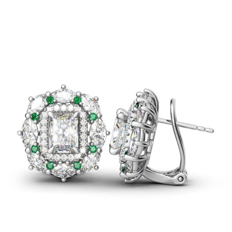 YWOSPX Luxury Zircon Earings Silver Hoop Earrings For Women Fashion Jewelry Wedding Statement Brincos Engagement Gifts