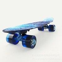 Wysokiej Jakości 100 kg Obciążenia Retro Deskorolka Gwiaździste Niebo Wzór Pokładzie Trwałe Światło Odkryty Sport Skate Board