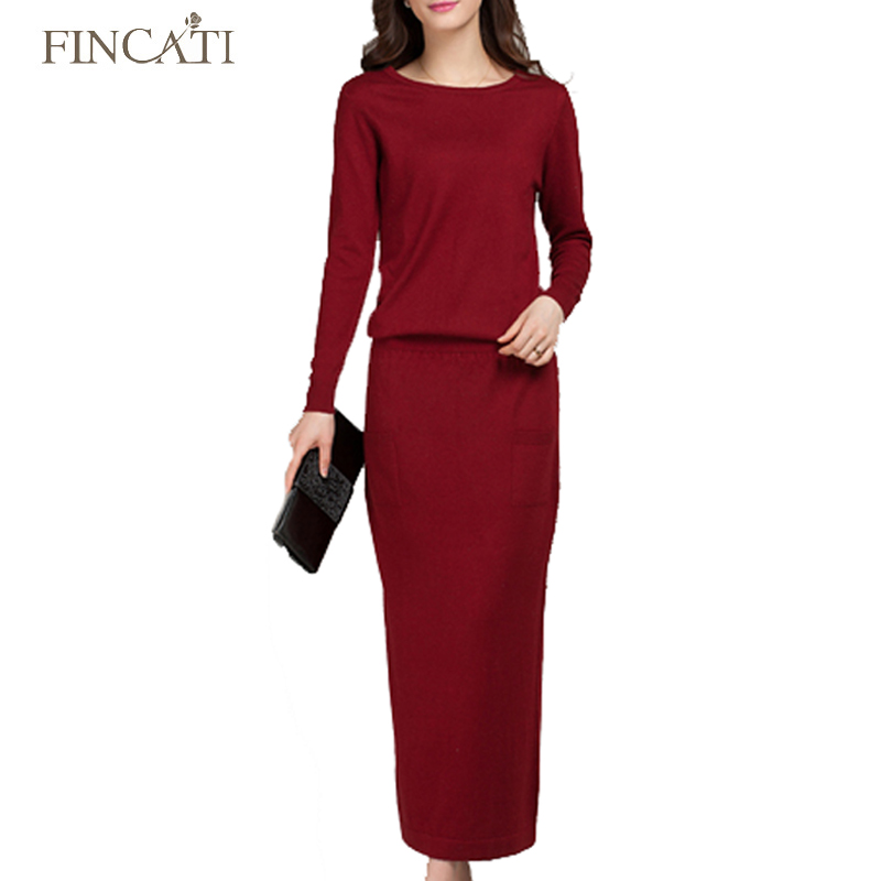 2018 Womens Spring Autumn Cashmere Blend Long Sleeve Knitted Ankle-Length Sweater Dress Knitwear Pullover Vestidos with Pockets