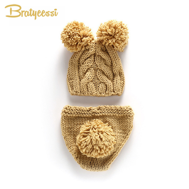 5e07aa804 US $5.17 10% OFF|Crochet Newborn Fotografia Knitted Baby Hat + Shorts  Cartoon Newborn Photography Props Accessories for 0 3 Months -in Hats &  Caps ...