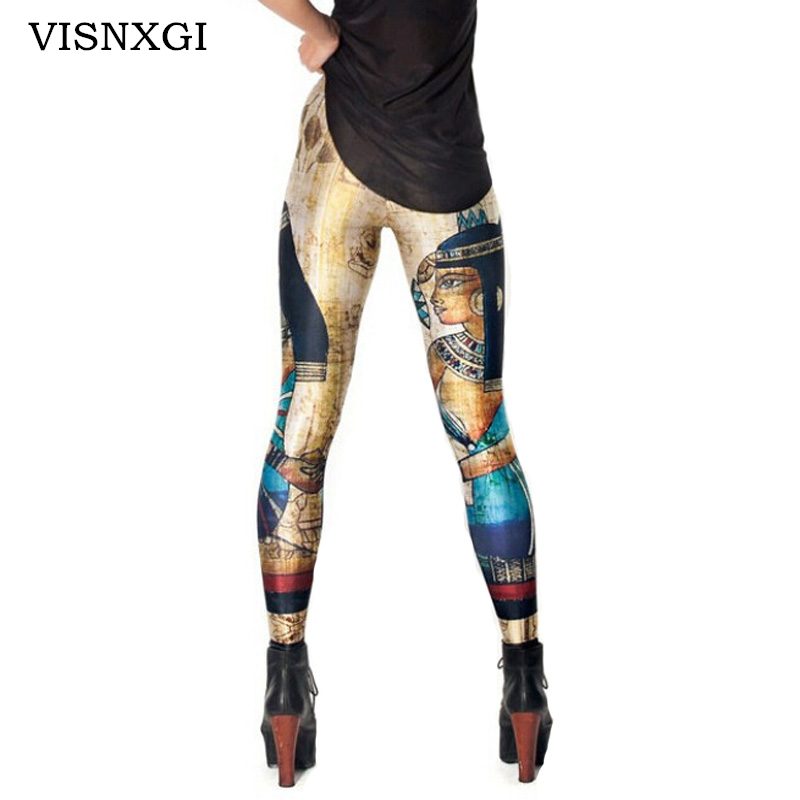 VISNXGI Vintage Trousers Fashion Cleopatra   Leggings   Digital Printed Sexy Women   Legging   Plus Size Egypt Pharaoh Pattern   Leggings