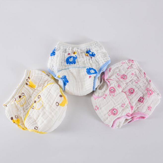6 layers new arrive baby underwear cloth diaper baby cartoon printing learning pants infant diaper cover QD02