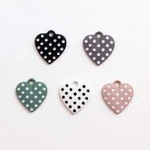 New Trendy Polka Dots Love Heart Enamel Alloy Charms 50PCs 20Pcs 17*18MM Oil Drop Metal Bracelet Necklace Earring Keyring Charm(China)