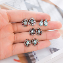 4Pairs/Set Green Crystal Flower Stud Earrings for Women Wedding Boucle Doreille Jewelry Hollow Out Geometric Pendientes Bijoux