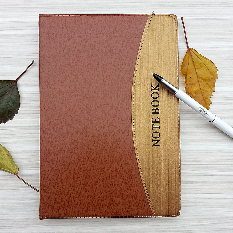 Elegant smooth leather + gold cloth notebook Leather Notebook Vintage Thick Diary Book Gift Travel Journal Notebook