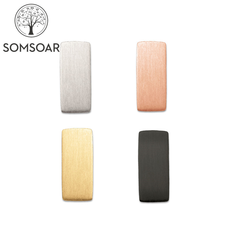 Somsoar OEM Personalized customized Slide Charms MINI ENGRAVABLE BAR charms Stainless Steel Story Keys fit Mesh