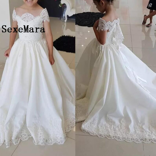 ef749a6e8ea 2018 Lace Off The Shoulder Flower Girl Dress For Wedding Little Bride  Princess Gowns With Train Girls Pageant Dresses