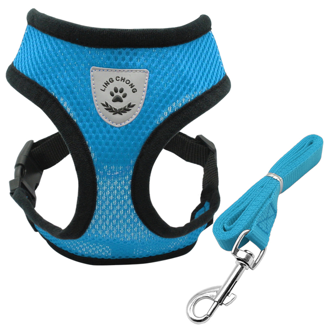 New Soft Breathable Air Nylon Mesh Puppy Dog Pet Cat Harness and Leash Set 2