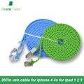 Высокое Качество 1 M 2 M 3 M 10 цветов Плетеный USB Кабель Заряжателя sync Шнур Для iPhone 4 4S для iPad 2