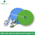 Alto qulity 1 m 2 m 3 m 10 colores trenzado usb cable de sincronización cable cargador para iphone 4 4s para ipad 2