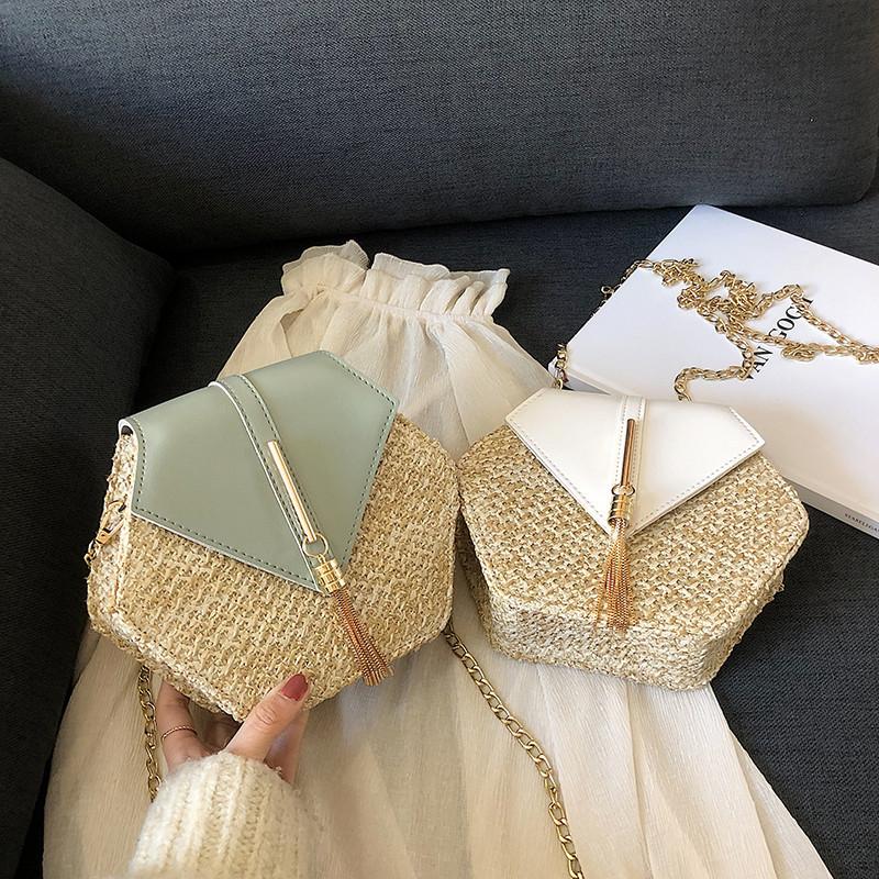 Hexagon Mulit Style Straw+leather Handbag Women Summer Rattan Bag Handmade Woven Beach Circle Bohemia Shoulder Bag New Fashion 22