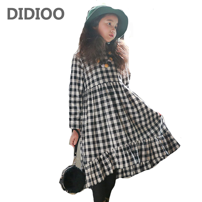 Girls Dresses Long Plaid Dresses For Girls Ball Gowns Spring Autumn Teenage Bottoming Dresses 2 4 6 8 9 10 12 14 Years Vestidos girls princess party dresses 4 long sleeve striped kids dresses for girls 6 preppy style bottoming dress 8 ball gowns 10 12years