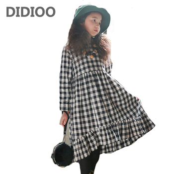 Girls Dresses Long Plaid Dresses For Girls Ball Gowns Spring Autumn Teenage Bottoming Dresses 2 4 6 8 9 10 12 14 Years Vestidos