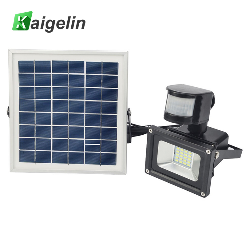 2 Pcs 10W 12V Solar Powered LED Flood Light PIR Motion Sensor LED Floodlight IP65 Solar Floodlight Solar Powered Garden Lamp