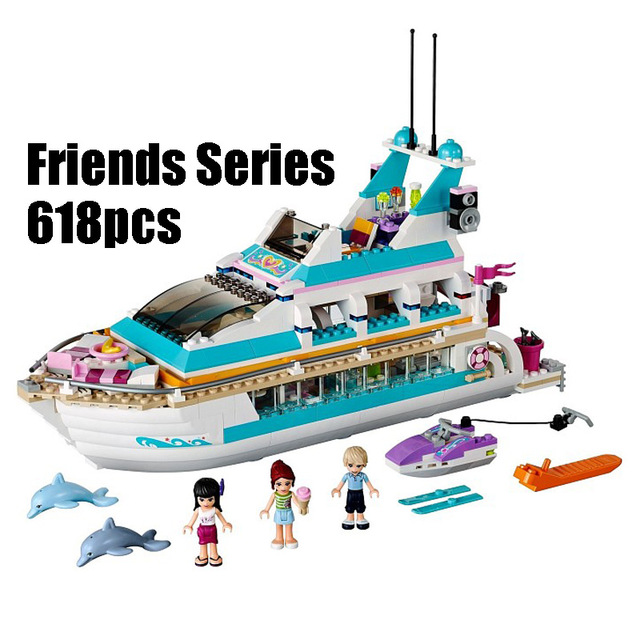 Compatible with Lego Friends 41015 model 01044 618pcs building blocks Dolphin Cruiser Vessel Ship Brick figure toys for children цена