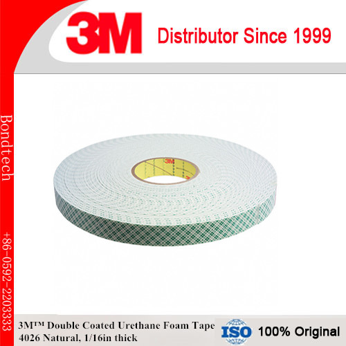 3M 4026 Double Coated Urethane Foam Tape Natural, 1 in x 36 yd 1/16 in двигатель змз 4026 10