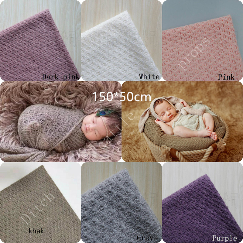 150 * 50 Cm Newborn Photography Props, Knitted Fabric Envelope Photography Background, Baby Blanket, Newborn Basket Filler
