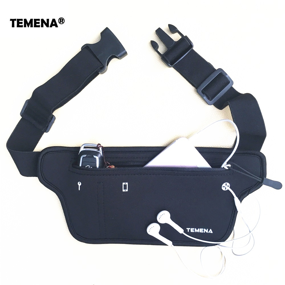 TEMENA Men Women Running Waist Belt Bag Phone Holder Jogging Fanny Packs Gym Fitness Bags Sport Running Accessories Marathon Bag