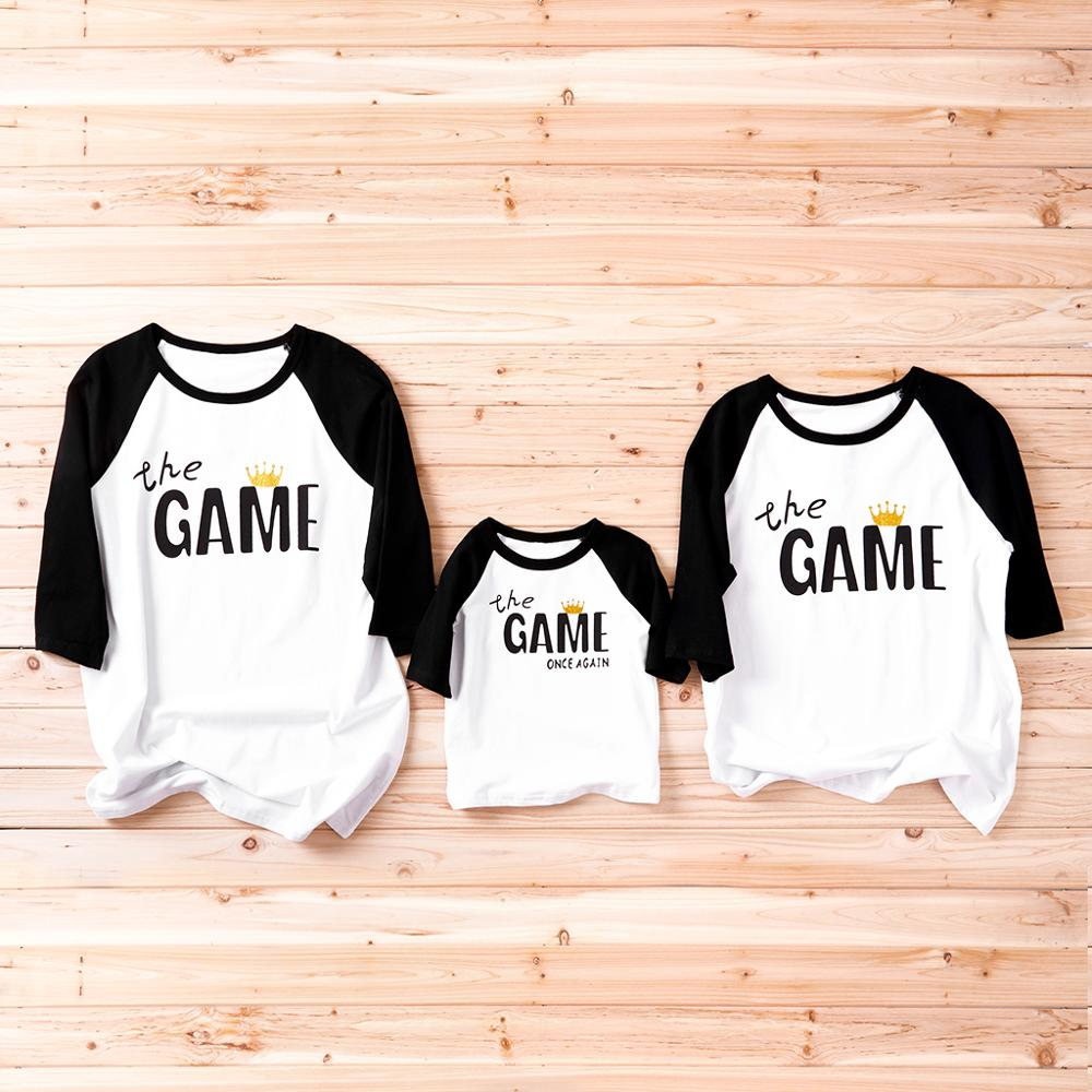 GAME Charactor Print Family T-shirt Summer Leisure Round Neck Cropped Sleeves