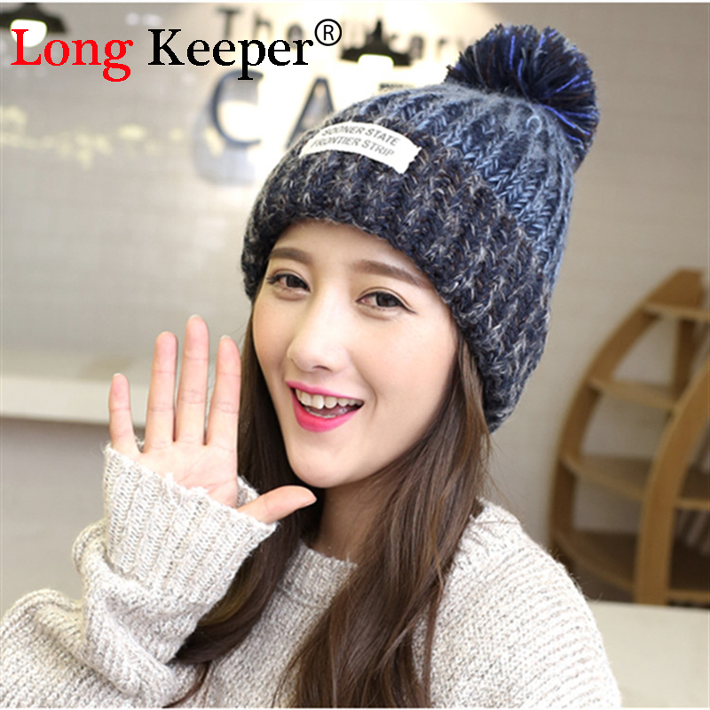 Long Keeper 2017 New Product Winter Style Spring Wool Patchwork Line Ball Knitting Upset Warm Hats For Women Beanie Hat M89 2017 new wool grey beanie hat for women warm simple style bad hair day knitting winter wooly hats online ds20170123 x24