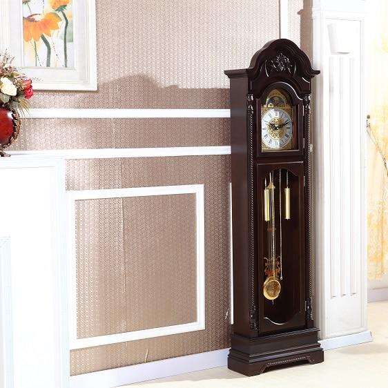 US $840 0  European style living room floor watch white wood grandfather  clock pendulum mechanical Li Zhong Chinese Feng Shui-in Desk & Table Clocks