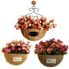 Три узора трава ротанга плетеная корзина Зеленый завод Корзина настенный цветочный горшок домашний стол висячие украшения