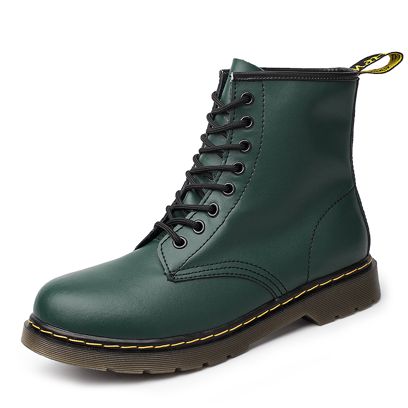 2019 New Brand Leather Ankle Boots Autumn Winter Men's Boots Green Motorcycle Boots Outdoor Working Snow Boots Men Shoes