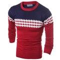 Blusas masculinas 2015 inverno new Men magro grosso em torno do pescoço camisola homens patchwork malhas Freeshipping H9001