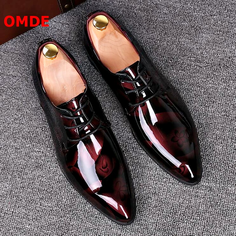 OMDE Pointed Toe Leather Shoes Men Patent Leather Lace-up Dress Shoes Handmade Formal Shoes Brogue Mens Wedding ShoesOMDE Pointed Toe Leather Shoes Men Patent Leather Lace-up Dress Shoes Handmade Formal Shoes Brogue Mens Wedding Shoes