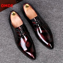 OMDE Pointed Toe Leather Shoes Men Patent Leather Lace-up Dress Shoes Handmade Formal Shoes Brogue Men's Wedding Shoes цена 2017