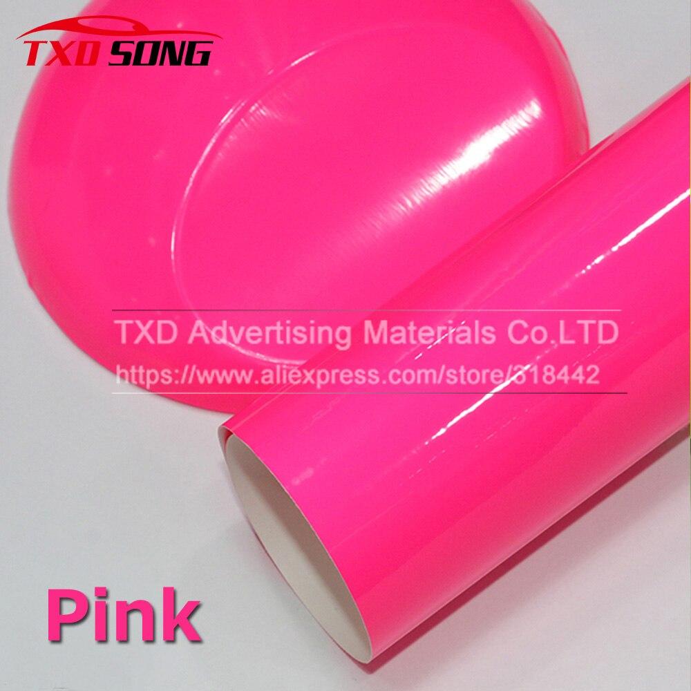 Высококачественный стильный флуоресцентный розовый автомобильный виниловый стикер глянцевая цветная виниловая пленка самоклеящаяся авт...