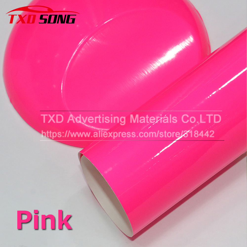Premium Quality Car Styling Fluorescent Pink Car Vinyl Sticker Glossy Color Vinyl Film Self Adhesive Car Wrapping Sticker