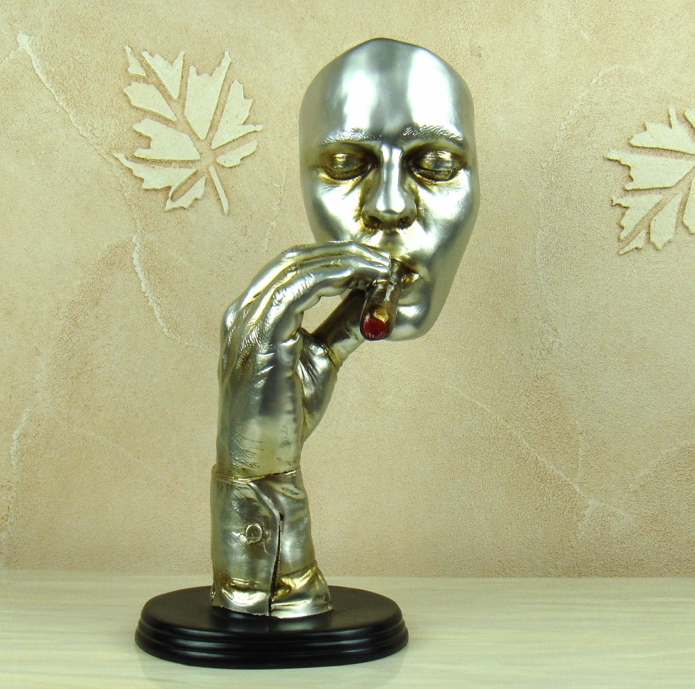 Abstract Cigar Smoking Man Portrait Sculpture Resin Decor Handicraft ...