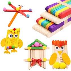 50 шт. DIY деревянные палочки мороженое эскимо красочные ручные ремесла Искусство творческие обучающие игрушки для детей